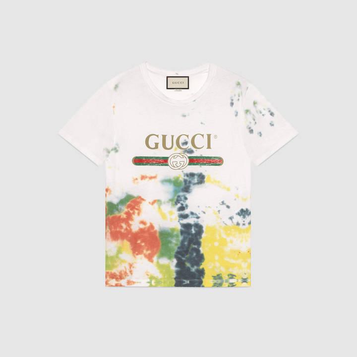 Cotton tie-dye t-shirt with Gucci print 8