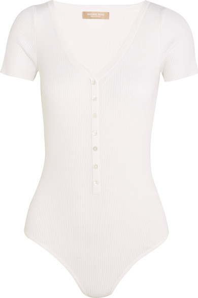 Michael Kors Collection - Ribbed Stretch Merino Wool-blend Bodysuit - White