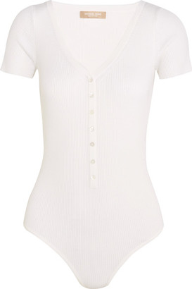 Michael Kors Collection - Ribbed Stretch Merino Wool-blend Bodysuit - White $595 thestylecure.com