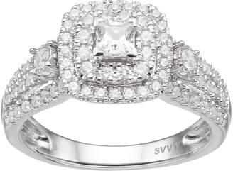 Vera Wang Simply Vera 14k White Gold 1 Carat T.W. Diamond Square Halo Engagement Ring