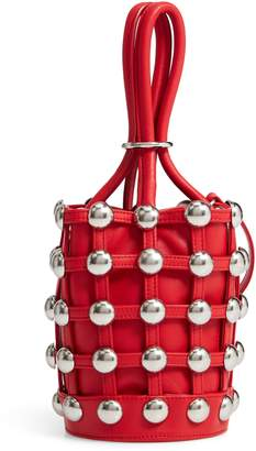 Alexander Wang Mini Roxy Studded Cage Leather Bucket Bag