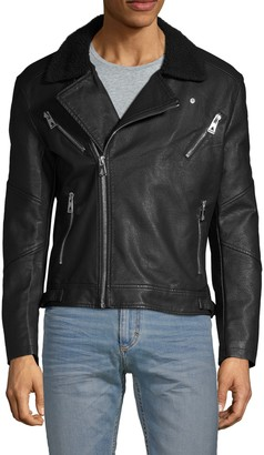 Eleven Paris Faux Fur-Collar Full-Zip Moto Jacket