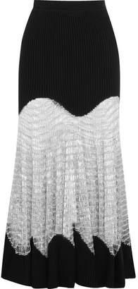 Metallic Open Knit-paneled Ribbed Wool-blend Maxi Skirt - Black