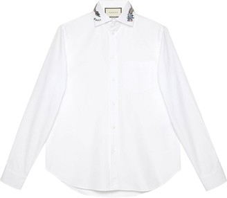 17a2533d9a45 Mens White Collar Embroidered Shirt - ShopStyle