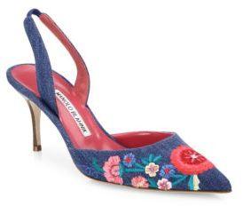 Manolo Blahnik Carolyne Floral-Embroidered Denim Slingbacks $815 thestylecure.com