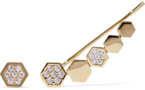 Astrid & Miyu Black Magic 14-Karat Gold-Plated Crystal Cuff And Stud Earring