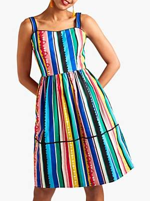 Yumi Rainbow Stripe Square Neck Cotton Dress, Multi