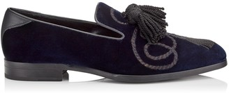 Jimmy Choo FOXLEY Navy Velvet Tasselled Slippers with Rope Embroidery