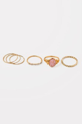 francesca's Hailey Set of 6 Druzy Ring Set - Pale Pink