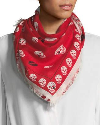 Alexander McQueen Skull & Kisses Fringe Scarf