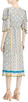 Neiman Marcus Talitha Collection Deep-V Kimono-Sleeve Printed A-Line Midi Dress