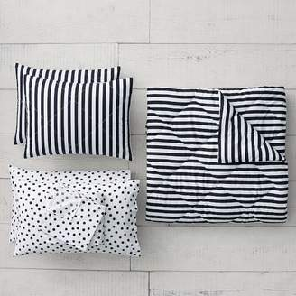 Pottery Barn Teen The Emily & Meritt Pirate Striped Comforter Bundle, Black/Ivory, Queen, Black/Ivory