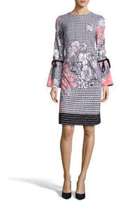 Floral & Gingham Bell-Sleeve Sheath Dress