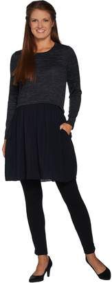 Logo By Lori Goldstein LOGO by Lori Goldstein Sweater Knit Tunic with Woven Challis