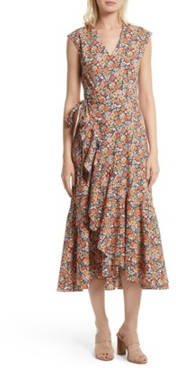 Women's Rebecca Taylor Moonlight Print Poplin Ruffle Wrap Dress $495 thestylecure.com