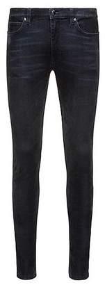HUGO BOSS Skinny-fit jeans in blue flock-print super-stretch denim