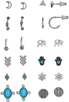 Mudd Moon, Kite, Triangle, Flower, Elephant, Hamsa & Disc Stud & Hoop Earring Set