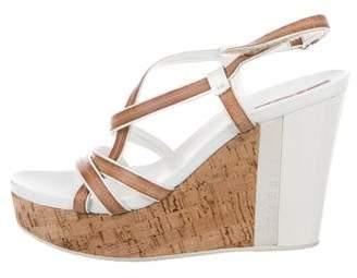 Prada Sport Leather Wedge Sandals