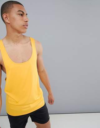 Asos 4505 tank with extreme racer back and quick dry in yellow