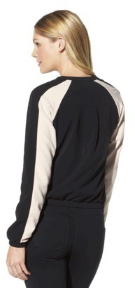 Mossimo Women's Colorblock Bomber Jacket - Black