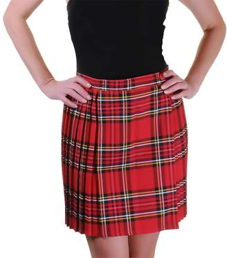 Rimi Hanger Ladies Tartan Pleated Wrap Over Buttoned Kilt Skirt
