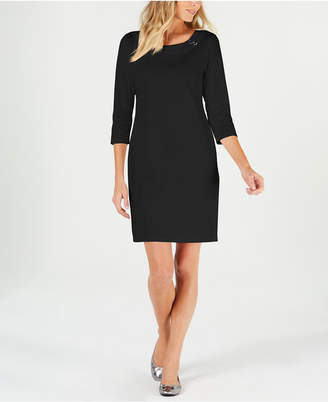 Karen Scott Petite Cotton Boat-Neck Dress