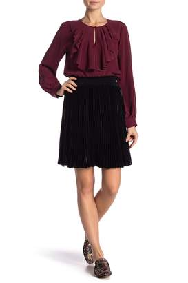 Hale Bob Pleated Velvet Skirt