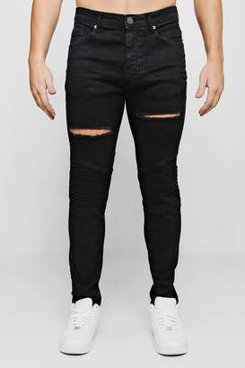 boohoo Skinny Fit Biker Jeans With Distressing