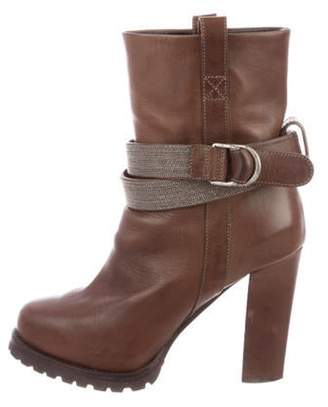 Brunello Cucinelli Leather Round-Toe Boots Brown Leather Round-Toe Boots