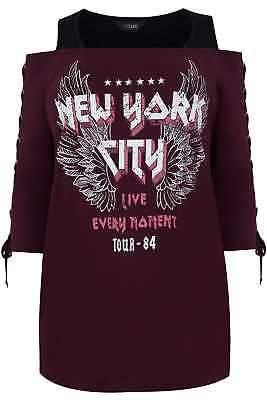 Yours Clothing Women's Plus Size Burgundy 'new York' Bardot Top With Eyelet Lattice Sleeves