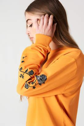 NA-KD Na Kd Rose Embroidery Sleeve Sweater Blue Stone