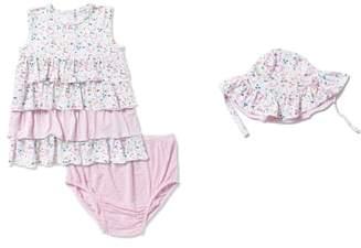 Angel Dear Tiered Ruffle Dress & Sun Hat Set