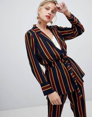 Y.A.S Bold Stripe Tie Waist Blazer