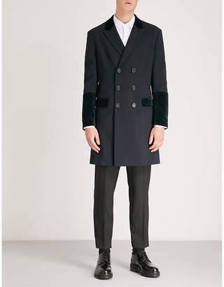 Neil Barrett Velvet-trim stretch-wool coat