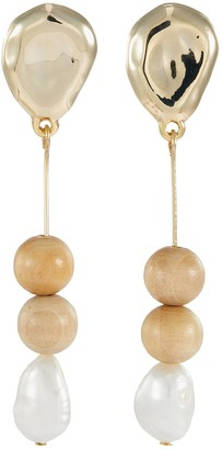 Sophie Monet 'The Needle' freshwater pearl bead drop earrings