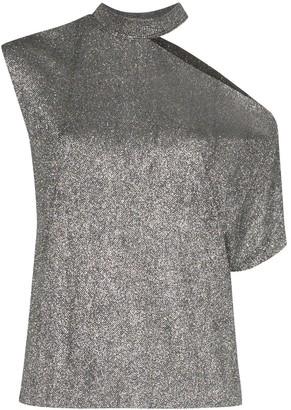 RtA metallic cut-out asymmetric T-shirt