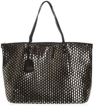 b3b1b92956 Love Moschino Black & Silver Woven Eco Leather Tote Bag