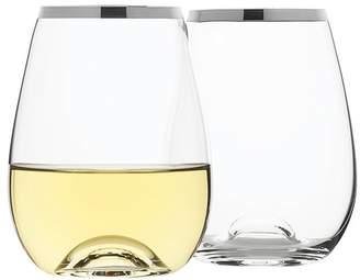 Set of 4 Selene Platinum Trim Stemless Wine Glasses