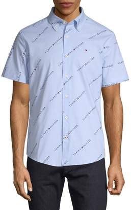 Tommy Hilfiger Logo-Print Short-Sleeve Button-Down Shirt