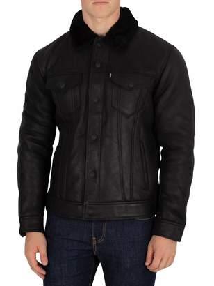 Levi's Men's The Shearling Trucker Leather Jacket