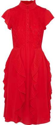 Mikael Aghal Pleated Ruffle-Trimmed Lace And Chiffon Dress