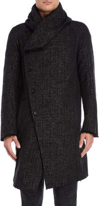 Masnada Black Textured Hooded Coat