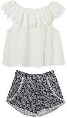 Rare Editions 2-Pc. Gauze Top & Printed Shorts Set, Baby Girls