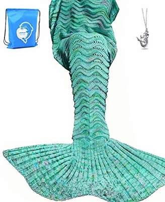 LAGHCAT Mermaid Tail Blanket Knit Crochet Mermaid Blanket for Adult