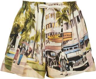 Monse Scenic Printed Silk Shorts