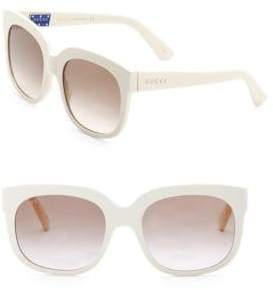 Gucci Fashion Show Ivory Square& Brown Sunglasses/56MM