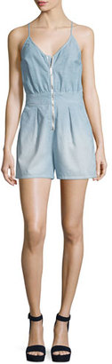 7 For All Mankind Sleeveless Zip-Front Romper, Stretch Chambray $149 thestylecure.com