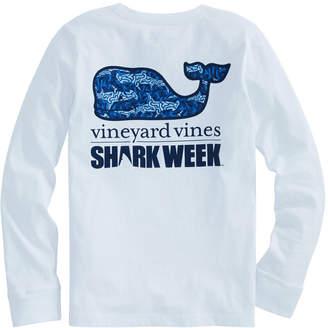 Vineyard Vines Girls Long-Sleeve Camo Shark Whale Fill Pocket Tee
