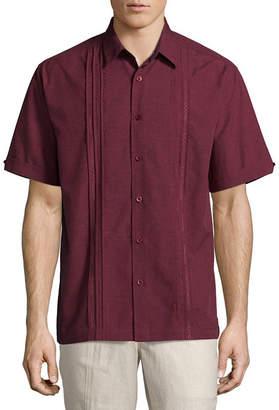 HAVANERA Havanera Chambray Wovens Short Sleeve Panel Button-Front Shirt-Big and Tall