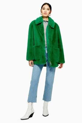 Topshop Faux Fur Zip Up Jacket